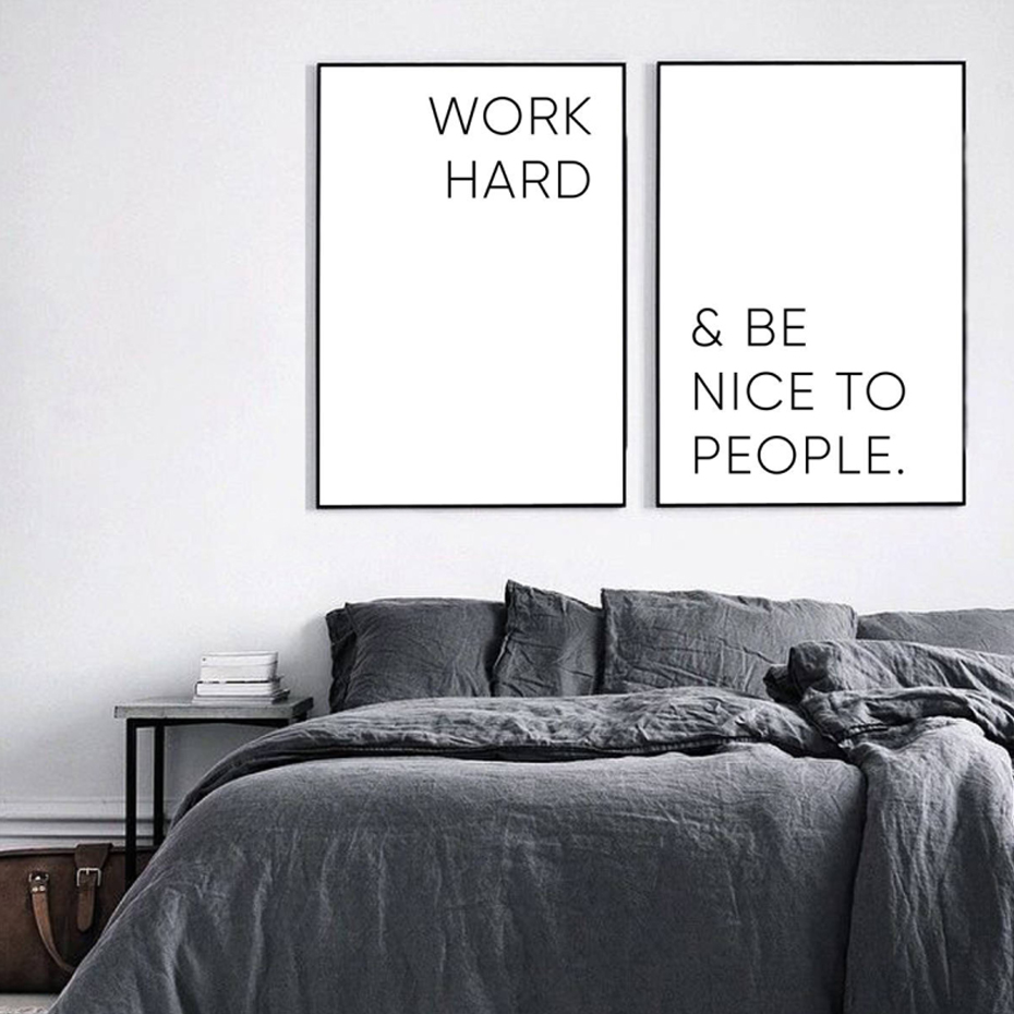 Work Hard Inspiring Quotes Art Canvas Painting Abstract Black And White Kids Room Decor Posters Hd Print Wall Picture For Room in Painting Calligraphy from Home Garden