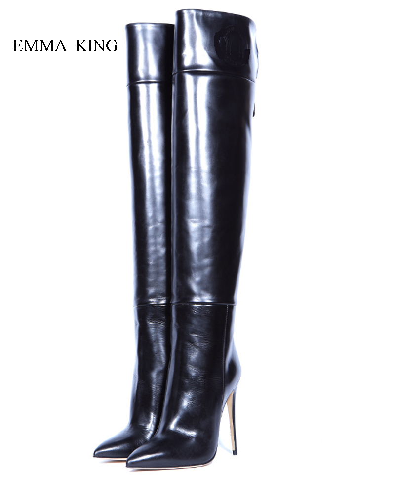 Sexy Stivaletti Tacco Alto Autumn Winter Women Pointy Toe Stiletto Heel Booties Zip Over the Knee Boots for Women Quality ShoesSexy Stivaletti Tacco Alto Autumn Winter Women Pointy Toe Stiletto Heel Booties Zip Over the Knee Boots for Women Quality Shoes