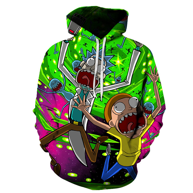 2019 New 3D Sweatshirts Hip Hop Men/Women Hat Funny Print Rick Morty Crazy Scientist Winter Loose Thin Hooded Hoody Tops S-6XL