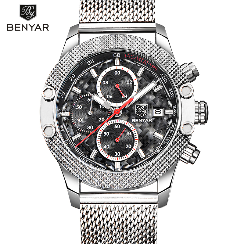 BENYAR Brand Men Watch Fashion Casual Sport Watches Men Waterproof Leather Quartz Watch Man military Clock Relogio Masculino 2017 new top fashion time limited relogio masculino mans watches sale sport watch blacl waterproof case quartz man wristwatches