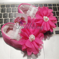 Big Flowers Pearl Decor 0 1Yrs Princess Baby Girls Solid Color 1 Pair Soft Soled Lovely Elastic Band Crib Infant Shoes