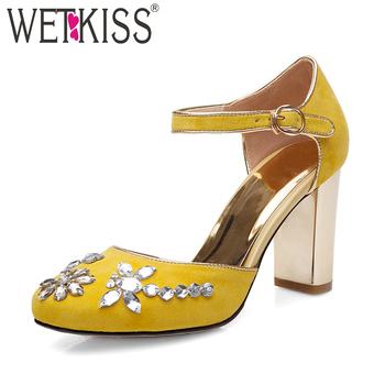 WETKISS High Heels Sandals Women Square Toe Footwear Fashion Ankle Strap Shoes Female Crystal Kid Suede Shoes Woman Summer 2019