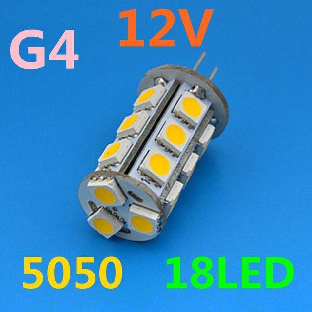 DC 12V G4 18 LED Lamp White/Warm White light SMD 5050 Home Car RV Marine Boat LED Bulb Lamps Free Shipping Wholesale