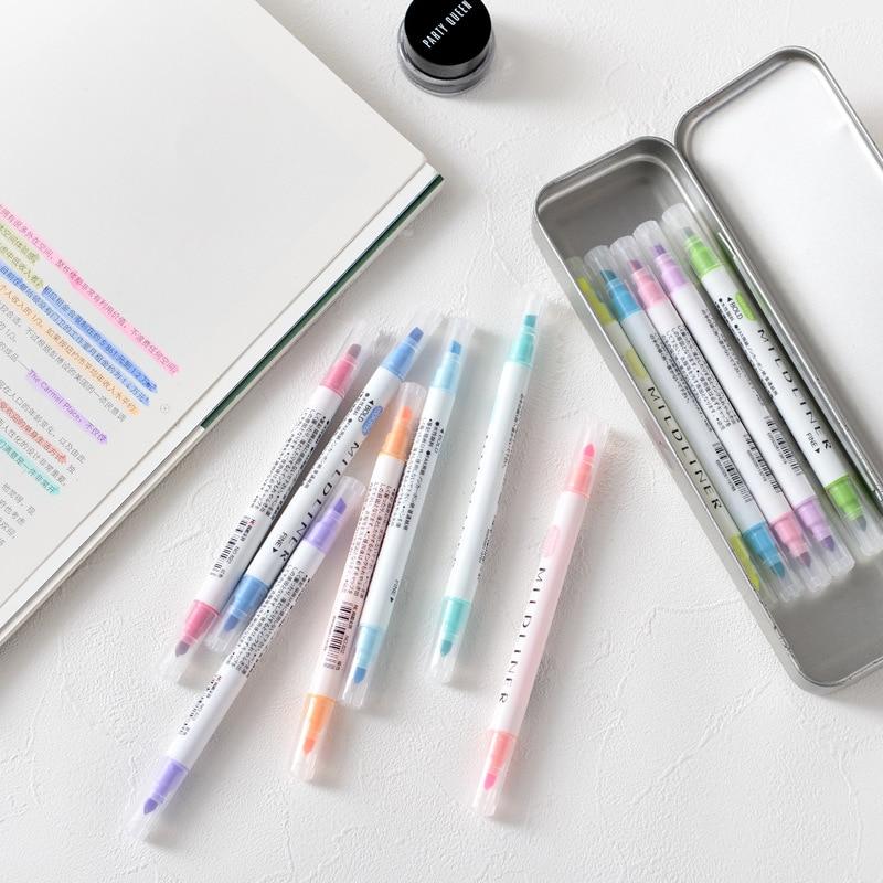 12 Pcs/set Japanese Mildliner Pens Mild Liner Double Headed Fluorescent Pen Cute Art Highlighter Drawing Mark Pen Stationery