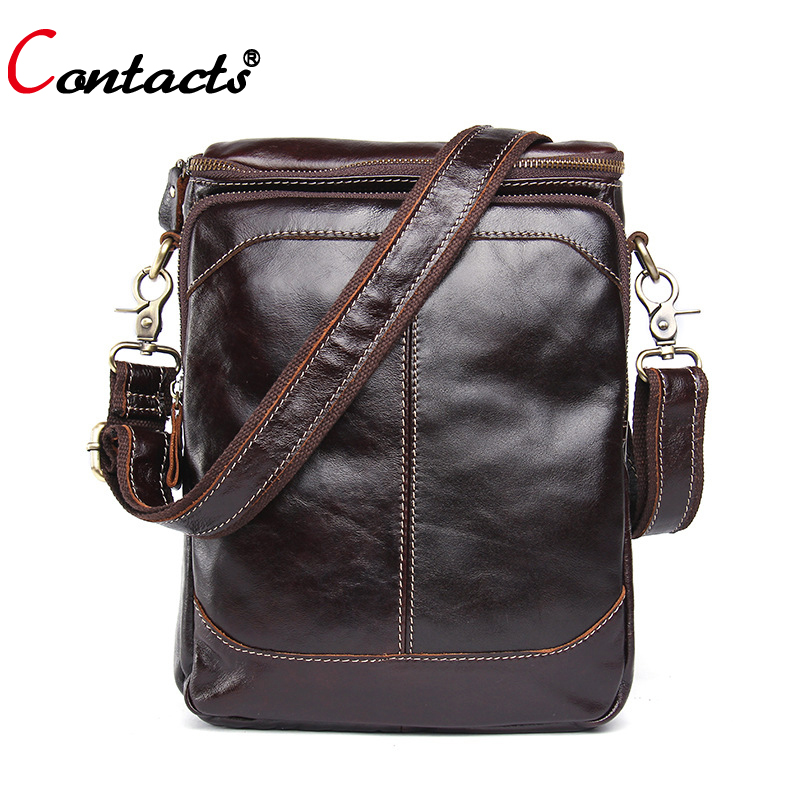 CONTACT'S men bags genuine leather messenger bags high quality men shoulder bag large capacity famous brand briefcases bags 2018 2016 new genuine polo brand golf bag for men s clothing bag women pu bag large capacity high quality