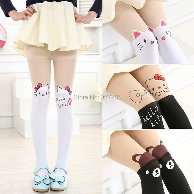 9522669b37e placeholder New free shopping children Baby Kids Girls tights cute pantyhose  hello kitty Knee lovely tattoo tights