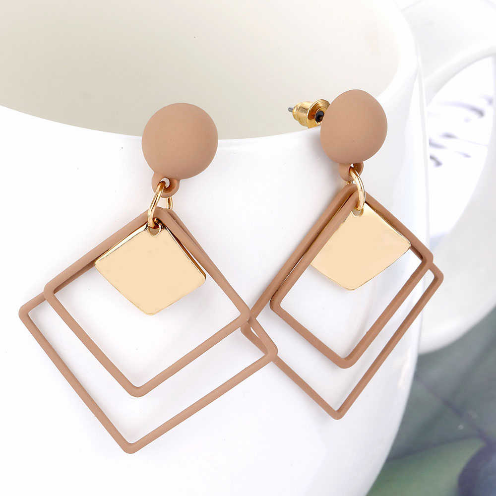 Fashion Geometric Earrings For Women Punk Long Hollow Square Sequins Pendant Hanging Earrings Female Elegant Statement Earrings