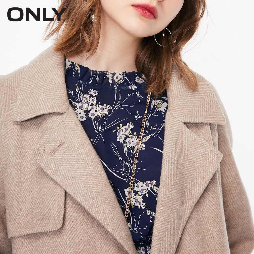 ONLY  womens' winter new wool tie-up simple woolen coat Tie-up belt Textured button|11834S533