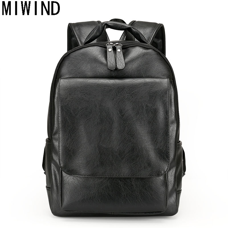 MIWIND Famous Brand Preppy Style Leather School Backpack Bag For College Simple Design Travel Leather Backpack Bags  TLJ1082 luxury fashion retro pu leather famous brand women backpack american style ladies dark green bag college student school bags