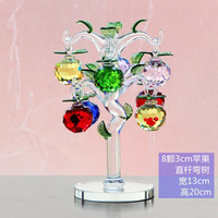New Year Chirstmas Apple Tree Hanging Cut Crystal Glass Multicolor Faceted Apples Ornaments (8pcs) For Christmas Decoration