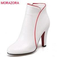 MORAZORA Gran tamaño 34-47 wedding party botines pu sólido cremallera botas de tacones altos para las mujeres en otoño elegante de la manera botas