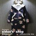 Marca jaqueta de inverno das crianças meninas roupas roupa dos miúdos definir hoodies do algodão da cópia da flor doce + saia 2 pcs bebê roupas para 2-7A
