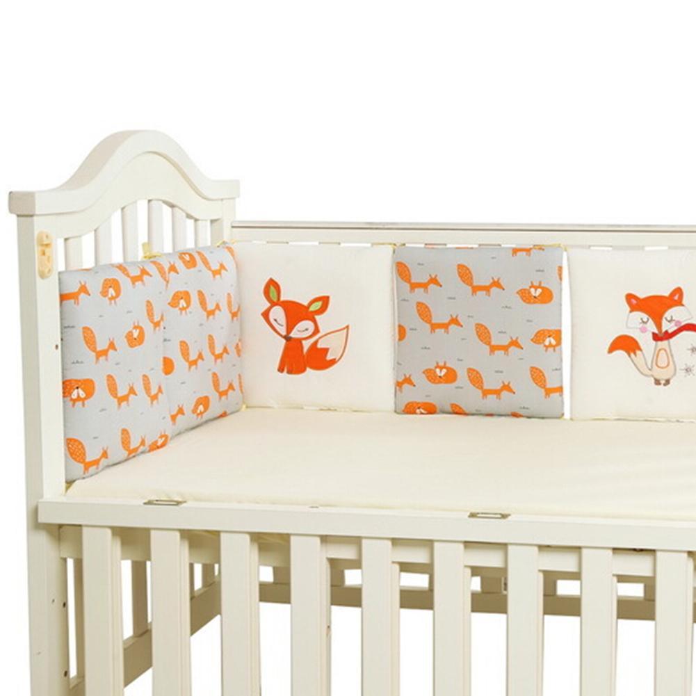 6 PCS Per Set 30 X 30cm Cotton Crib Bedding Bumper Fence Fox Pattern Model Newborn Cotton Safety Baby Fence Cloth