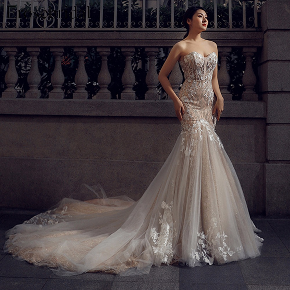 Sweetheart Wedding Dress Appliques Mermaid Lace up Back Vintage Bridal Gown with Long Train Bridal dress vestito sposa ES215 in Wedding Dresses from Weddings Events