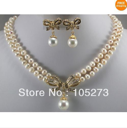 New Arriver Pearl Jewelry Set 6-7mm White Natural Pearl & Golden Inlay White Crystal Pendant Necklace Earring Hot Sale Free Ship one set stylish rhinestone inlay embellished golden rings