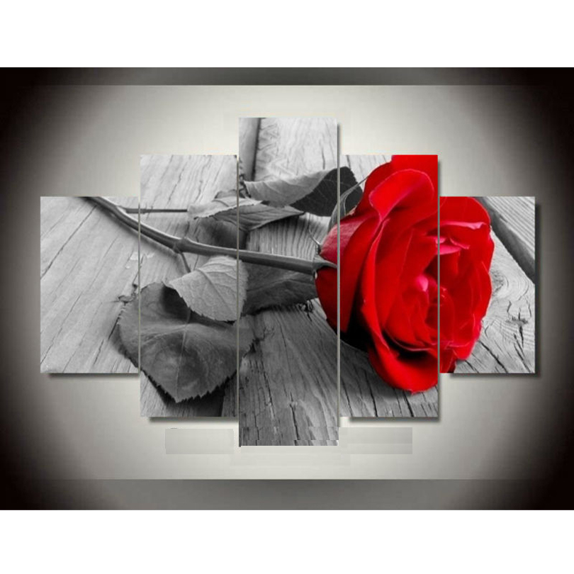 fashion rose flower canvas painting pictures on the wall print paintings home decor canvas wall. Black Bedroom Furniture Sets. Home Design Ideas