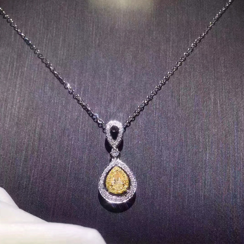 ANI 18K White Gold (AU750) Pendant Certified 0.377 Carat I-J/SI Water Drop Natural Yellow Diamond Jewelry for Women Necklace