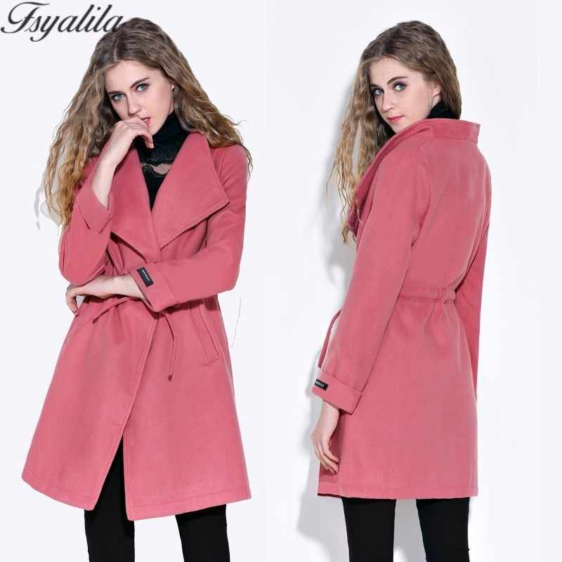 e44d0499b8587 Plus Size Blend Coat Women Wool Coat Elegant Ladies Overcoat Drawstring  Woolen Cashmere Pink Red Green