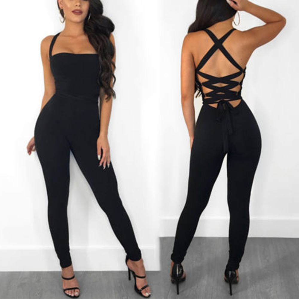 2019 New Summer Women   Jumpsuit   Clubwear Playsuit Bodycon Long Romper Backless Cross Off Shoulder Pants Sleeveless Casual Solid