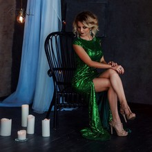 ebd03aabf2 ADLN sirena vestidos de noche con hendidura Scoop lentejuelas vestido largo 2018  vestidos de fiesta Rose Verde Borgoña  Negro ro.
