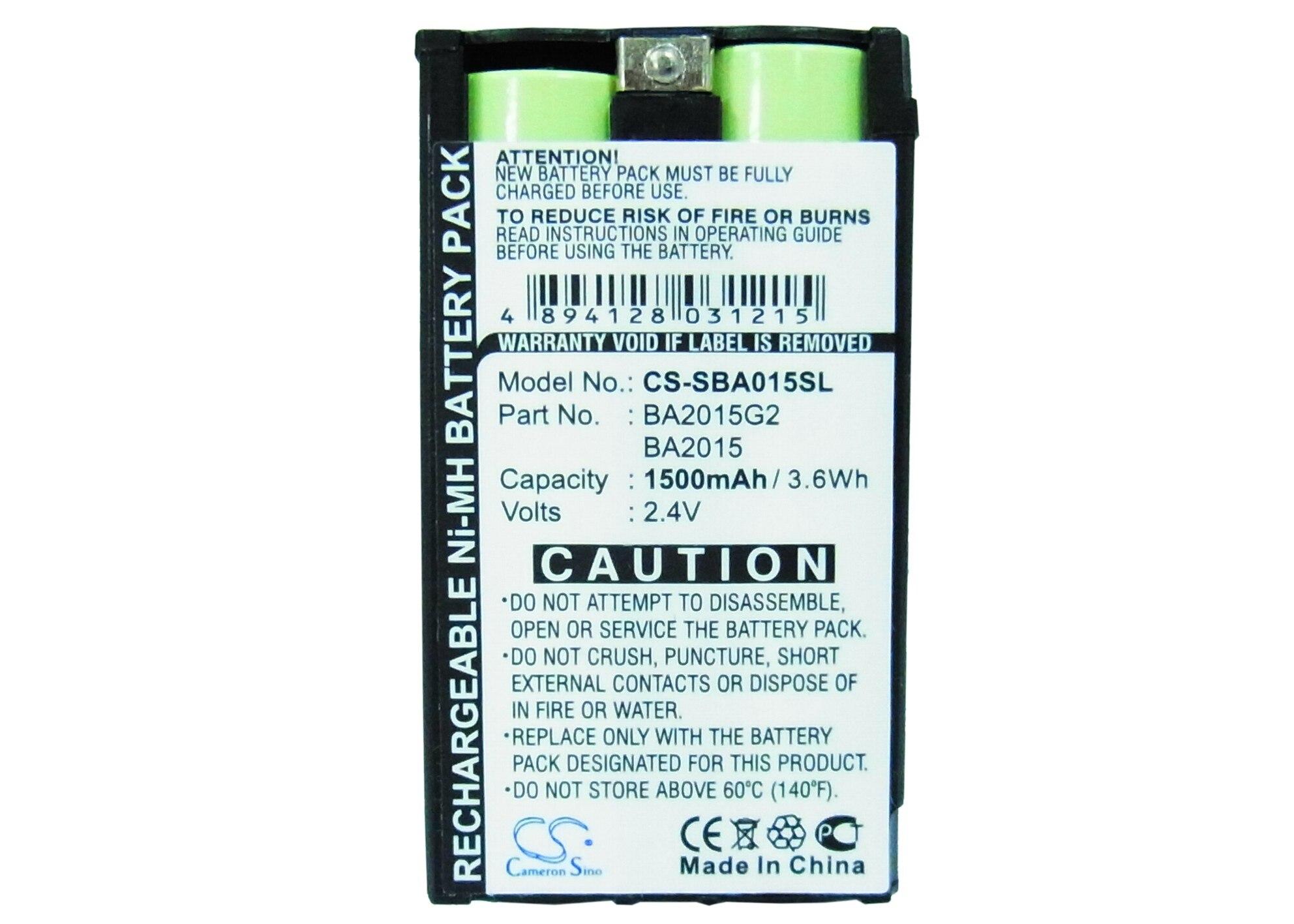 Cameron Sino 1500 mAh batterie BA2015, BA2015G2 pour Sennheiser 2015FM, EK1038, G2Cameron Sino 1500 mAh batterie BA2015, BA2015G2 pour Sennheiser 2015FM, EK1038, G2