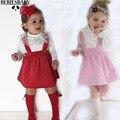 Outono Inverno 2016 Vestido Vestido Da Menina Nova Frete Grátis cinta halter vestido Sem Costas casuais Pik Princesa Recém-nascidos Do Bebê Partido Das Meninas