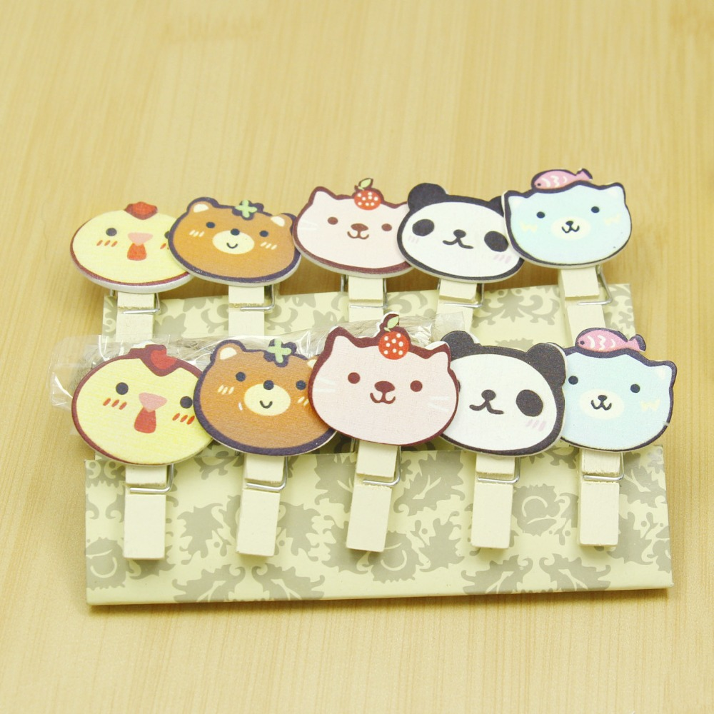 10 Pcs/Lot Cute Cartoon Animals Wooden Clip Photo Paper Clothespin Craft Clips Party Decoration Clip With Hemp Rope