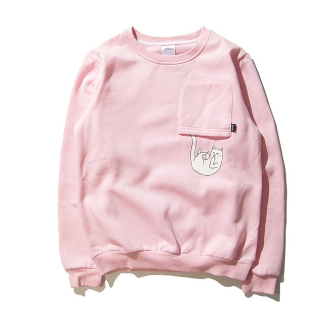 Casual Autumn Winter Ripndip Hoodie Men Women 1:1 High Quality Cotton Pour Pocket Whimsy Drop Cat Hoodie Ripndip Pink Sweatshirt