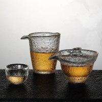 Taza de té tres para cubrir un tazón de vidrio resistente al calor martillo justo taza nieve boca de águila ruyi agarre de mano taza de té|cup f|cup tea|cup cups -