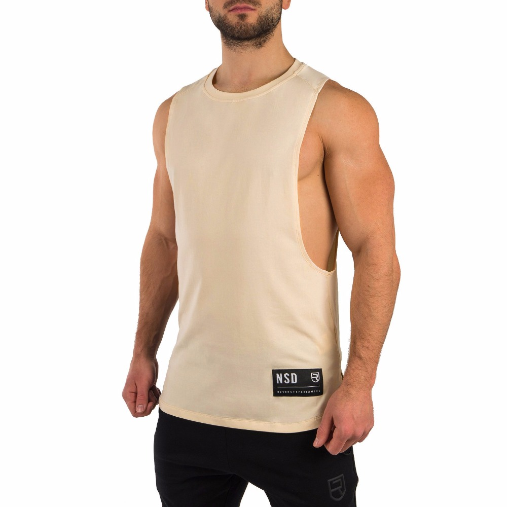 2019 New Arrival RISE Clothing Workout Vests Men Gyms Fitness Muscle Elastic Cotton   Tank     Tops   Men Bodybuilding Sleeveless Shirts