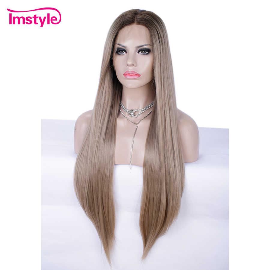 Imstyle Ombre Sarışın Kahverengi Sentetik Dantel ön peruk Doğal Düz Saç Peruk Kadınlar Için Yüksek Sıcaklık Fiber Günlük Peruk