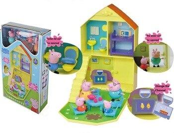 100% Peppa Pig auténtica casa de la familia de juguete de los niños George peppa con Peppa george papá mamá niños cumpleaños Navidad juguete regalo caliente
