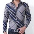 Primavera y Otoño Nueva Vista Previa Para Hombre Camisa A Rayas de Los Hombres de Algodón Casual Camisetas de Manga Larga Silm Fit Camisa Masculina