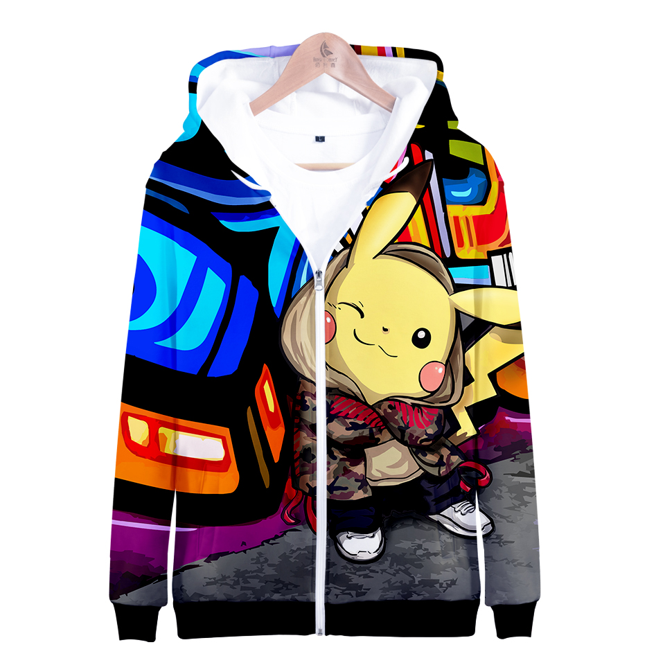 Pikachu Pokemon Go 3D Graphic Sweatshirt Hoodies Men Women Umbreon Sweatshirts Hoodie Men Zipper Boys Game Jacket Clothes