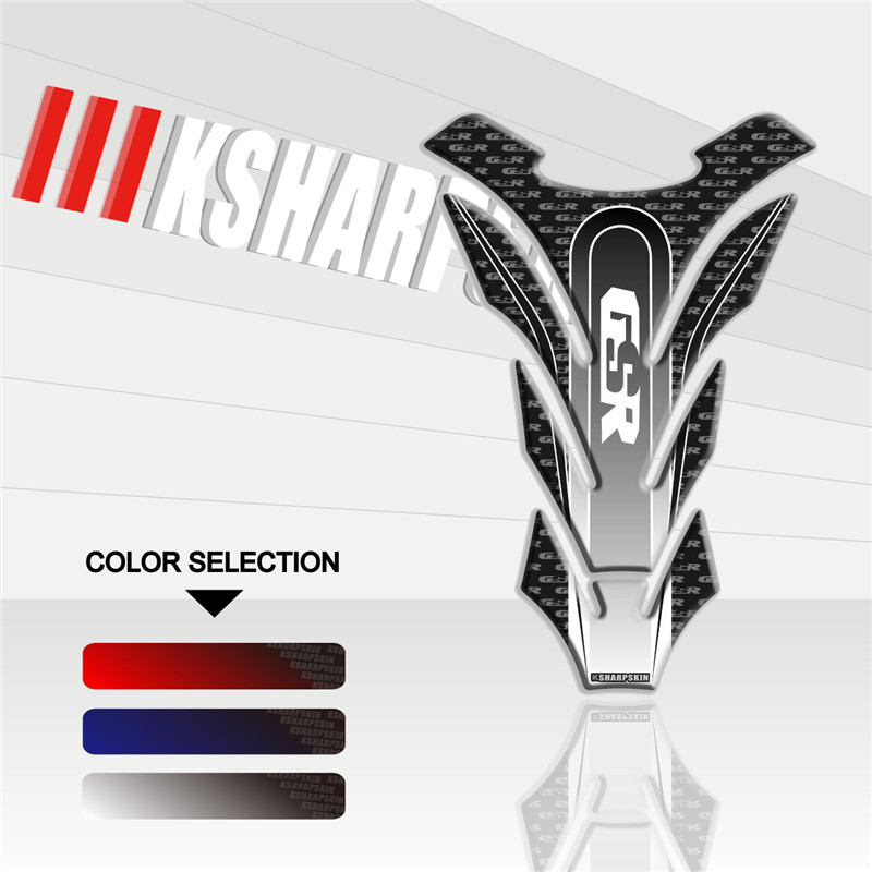 Motorcycle 3D Fuel Tank Pad Sticker Protective Decorative Decal FOR SURUKI GSR 750 600 450 Fishbone Protective Decals