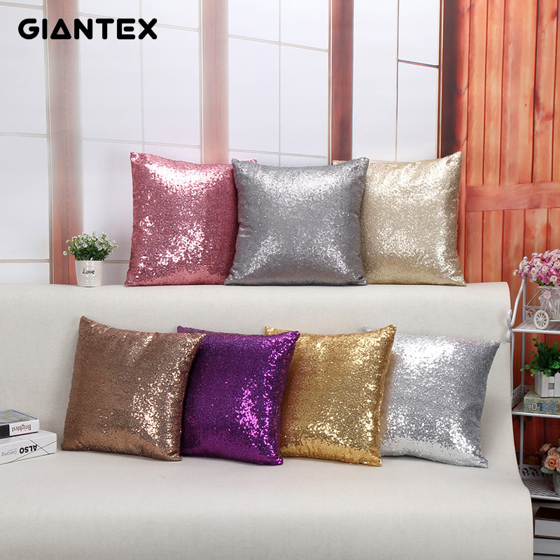 GIANTEX Glitter Sequins Square Sofa Cushion Cover Home Decor Throw Pillow Cover 40x40cm U1376