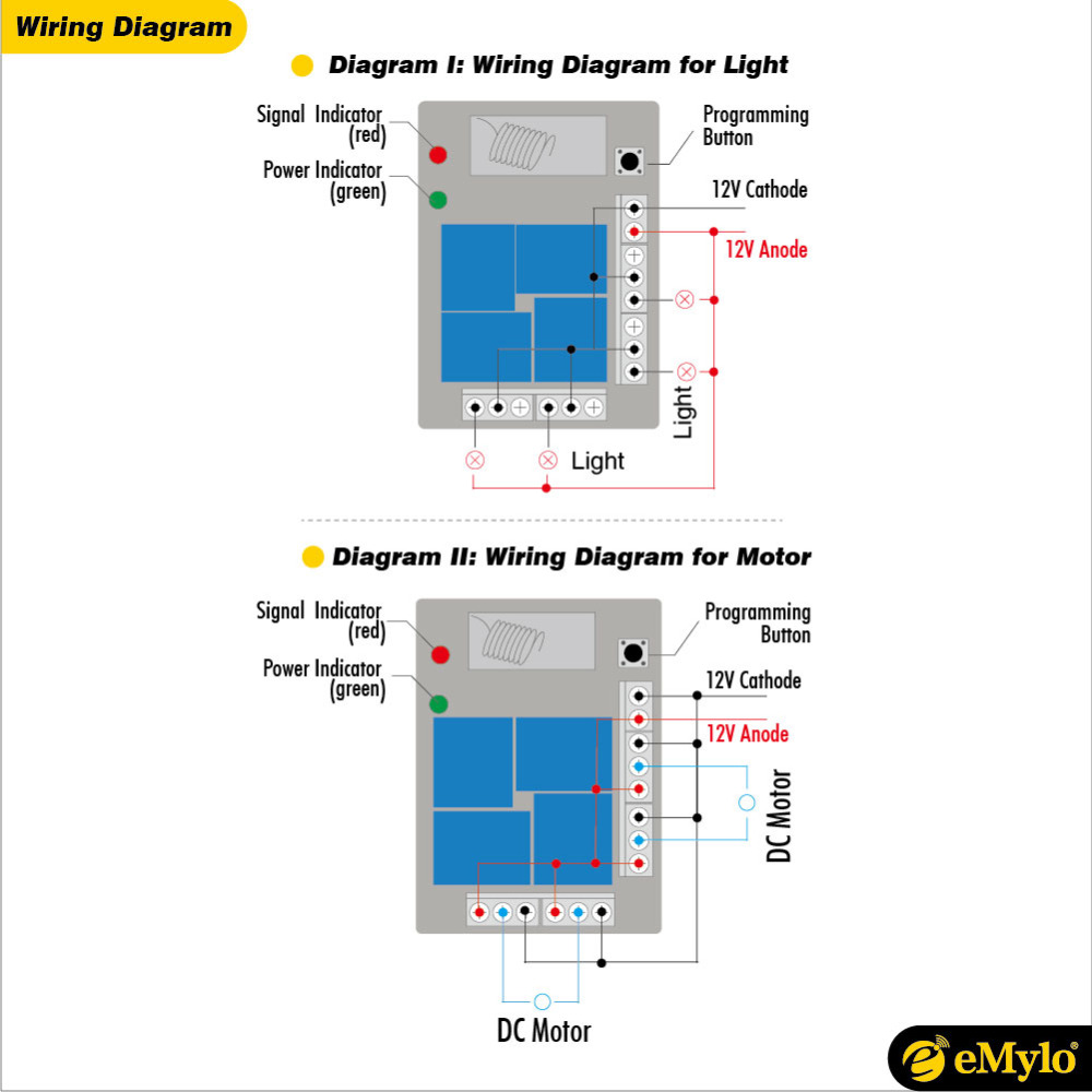 Emylo Dc 12v Rf Smart Switch Wireless Remote Control Light Dimmer Wiring Diagram 433mhz Transmitter 4 Channels Relay Toggle Momentary In Switches From Lights