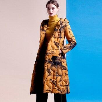 309e20cd768d YNZZU элегантный длинный женский пуховик бренд 2018 зима высокое качество  печати 90% ...