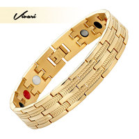 Vivari 2017 Magnets Stainless Steel Bracelet For Men 4in1 Negative Ions Germanium Far Infra Red Fashion