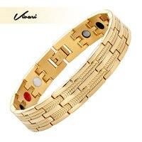 Vivari 2017 Magnets Stainless Steel Bracelet For Men 4in1 Negative Ions Germanium Far Infra Red Fashion