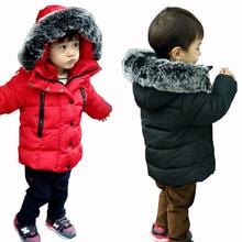 Boys Winter Jacket Hooded Kids Warm Fur Collar Outerwear Coat Children Cotton-Padded Coat Baby Girls Jacket for Boy Infant Coat
