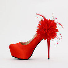 New arrival red bride wedding shoes high heel round toe single shoes flower decoration lady wedding shoes