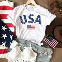 Womens USA Flag Shirt Fourth of July Merica I Love Tee