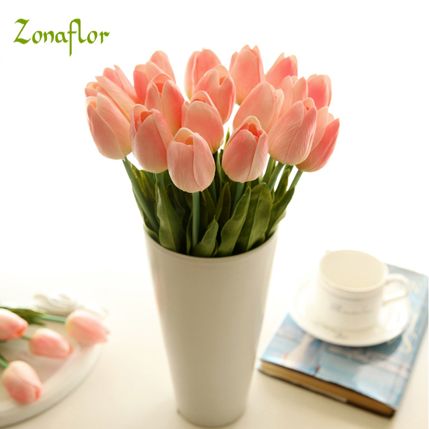 Zonaflor 31PCS LOT PU Tulip Artificial Flowers Wedding Bouquet For Home Decoration Wedding Decorative Flowers
