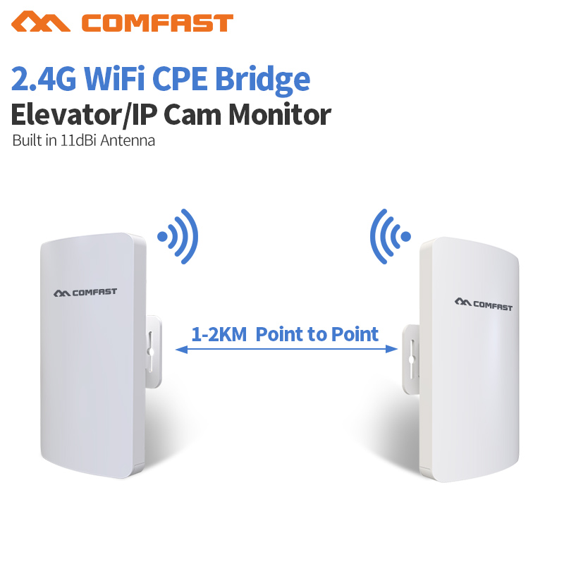 2PCS 2KM Comfast Outdoor Mini CPE WiFi Bridge Wireless WIFI Extender Repeater AP router 300Mbps Point to point wifi transmission