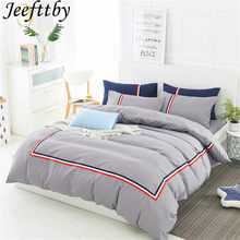 Jeefttby Home Textiles Gray 2018 British Style Comfortable Soft Solid Color Bedding Set Sheets Quilt Cover Pillowcase 3/4pcs(China)