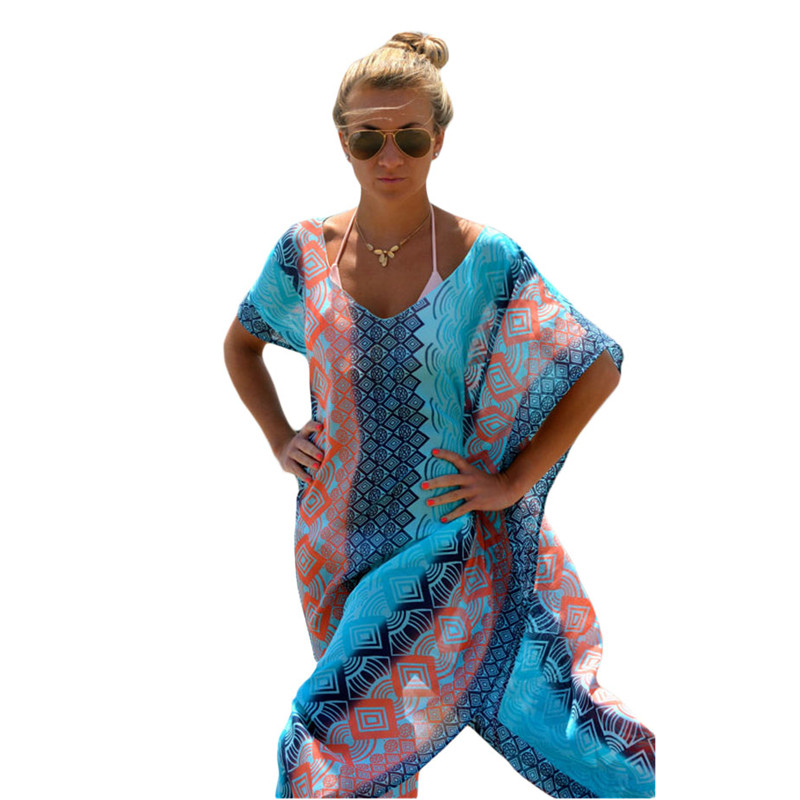 Summer Seaside 2018 Womens Geometric Beach Cover Up Dresses Chic Graphic Miami Kaftan Poncho Vm41542 Robe De Plage In Ups From Sports