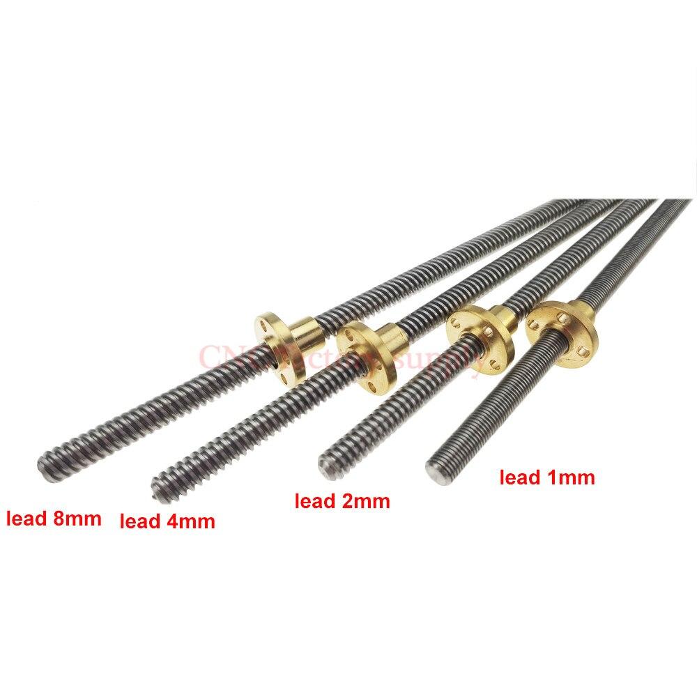 3D Imprimante T8 THSL-400-8D Trapézoïdale Plomb Vis Fil 8mm Plomb 1mm2mm4mm8mm Longueur 300mm350mm400mm450mm avec Écrou De Cuivre CNC