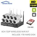 8CH 720 P Impermeable Al Aire Libre Día Noche Sistema de Cámaras de Video Vigilancia CCTV Seguridad Inalámbrica WIFI IP Con Kit de 1 TB Disco duro