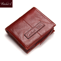 Fashion Small Genuine Leather Women Wallet Red Standard Wallets With Coin Bag Brand Design Lady Purse